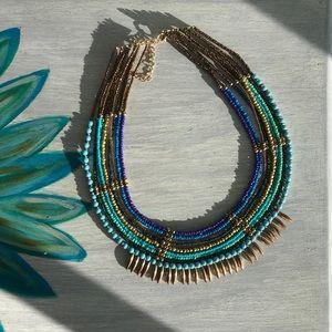 Boho blue/gold statement necklace